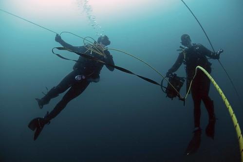 Navy divers in Japan's Mutsu Bay.