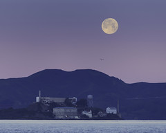 Moon Over Alcatraz (pixelmama) Tags: california moonset pixelmama sanfrancisco sunrise treasureisland fullmoon alcatraz