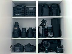 Show me yours (superduperwesman) Tags: gear equipment storage d800 df nikon drone mavic spark osmo mobile organize organization gopro rode mic zoom h1 lens lenses shelf cupboard sb600 sb700