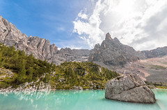 Lake Sorapis (Dolomites, Italy) (riccardo.ch) Tags: nature landscape mountains sky clouds summer water blue rocks forest trees woods peaks adventure hiking hike italy dolomites outdoors lake reflections cortinadampezzo veneto italia it