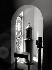 ±±± (K.Chris ~AlwaYs LeaRning~) Tags: monochrome indoors light shadow bw bnw blackandwhite mono contrast church altar shrine religious religion exposure silhouette