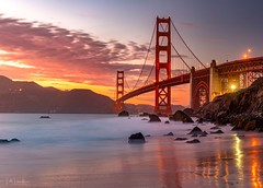 Golden Hour at the Gate (lahorstman) Tags: marshallbeach longexposure bridge leefilter lahorstmanphotography sleeklens canon sunset california goldengatebridge sanfrancisco