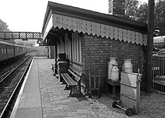 Bridgnorth Station - Platform 2 (Gerry Hat Trick) Tags: station steam severn valley railway platform two bridgnorth black blackwhite white mono monochrome victorian preserved heritage canopy gwr milkchurns