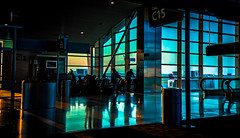 Scenes from c15 #5 (C.M. Hovinga) Tags: detroit airport collection tamron nikon everyday photooftheday pictureoftheday gate window suset goldenhour blue people reflection floor crowd
