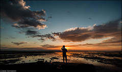 ______I______ (Kevin HARWIN) Tags: person people man male sea water beach sand stones sunset sun clouds sky blue orange canon eos 70d 1020mm lens sigma whitstable bubble south east kent uk england britain