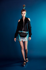 Anna (Oooah!) Tags: portrait sporty hippack fashion beauty coolhair colorful shiny fannypack futuristic leather style model coldshoulder gelledlights beautiful metal