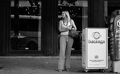 Surprise Meeting (burnt dirt) Tags: houston texas downtown city town street sidewalk crosswalk girl woman man people person couple group crowd asian latina cute sexy laugh smile jeans dress shorts skirt yogapants tights leggings stockings friend longhair shorthair ponytail heels stilettos boots shadow blonde brunette reflection athlete construction traffic lunch office building worker streetphotography documentary portrait fujifilm xt1 bw blackandwhite bike bicycle model young tattoo metro bus busstop train trainstop glasses sunglasses