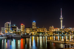Auckland at Night (17761) Tags: city architecture cityscape travel illuminated skyline reflection water skyscraper building sky waterfront urban tower landmark nicht hdr auckland newzealand