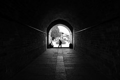 (cherco) Tags: tunnel tunel silhouette lonely city light lines solitario shadow silueta sombra street urban vanishingpoint dark exit composicion composition canon ciudad blackandwhite blancoynegro lineas china