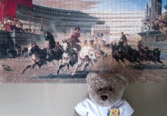 Charriut Racin' in Ainshunt Rome (pefkosmad) Tags: jigsaw puzzle hobby leisure pastime art painting alexandervonwagner thechariotrace panorama fineart roman rome horses chariots race chariotrace tedricstudmuffin teddy bear ted cute cuddly stuffed soft toy animal plush fluffy 1000pieces complete used secondhand