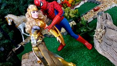 Paprihaven 1098 (MayorPaprika) Tags: lgv20 mattel queenhippolyta horse wonderwoman spiderman park paprihaven turtlecrossing worldpeacekeepers madetomove barbie lea policeofficer captainaction playing mantis 16 custom diorama toy story actionfigure 2017