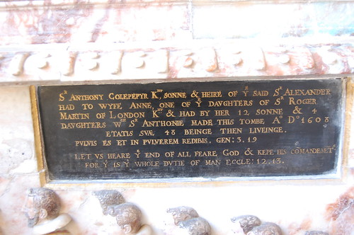 Goudhurst, St Mary's church, inscription on Culpepper monument