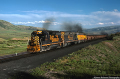 Carbon County Coal on Soldier Summit (jamesbelmont) Tags: train locomotive railroad emd gp402 sd45 coal carboncountyrailway soldiersummit utah helperengine