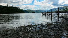 Scenical (stevehirons) Tags: lakedistrict water trees sky blue freshwater fence clouds nature landscapes rocks lakeside