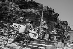 Learning Curve (Ivona & Eli) Tags: bw monochrome middleeast israel movement summer sun cliff sand graphs lines stairs board surfer surfing