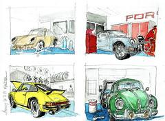 Annecy; 911 70's et Cox 1963 (Croctoo) Tags: croctoo croctoofr croquis watercolor aquarelle porsche911 911 cox1200 cox1963 porche911 classics autoancienne