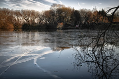 Evening Reflections (jamesromanl17) Tags: reflection nature winter tree cold landscape water season frozen lake wood river frost ice reflections clouds cloud cloudscape cloudy pond waterfront cheshire england britain countryside sigma dp2 merrill foveon x3