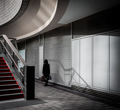 The Stairs (Peter Murrell) Tags: red stairs canarywharf streetphotography urban londonstreetphotography shadows architecture