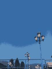 Selman Repišti : ''3 x 3'' (SelmanR) Tags: mobilephoto drina river street lamppost lamp lantern streetlights trees sky hills
