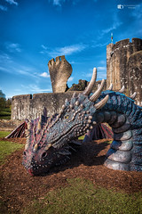 Dragons head at Caerphilly castle (technodean2000) Tags: caerphilly castle warm welcome dragon south wales uk nikon d610 lightroom blue sky
