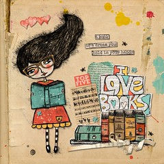 I Love Books (tina777) Tags: scrapbooking page serif craft artist digikit books library reading