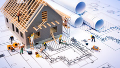building house on blueprints with worker - construction project (Ana_Zaidi97) Tags: architecture beams blueprint brickhouse bricks build building buildingconstruction concept construction constructionworker cottage design draft drawing engineer engineering equipment figure home homeconstruction house housing incomplete men model organization paper plan plaster project rolls sketch structure unfinished work workers