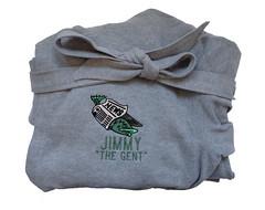 Sweatshirt Fabric Robe - Gag Gift (initial_impressions) Tags: embroidered personalized sweatshirtfabricrobe gaggift fish newspaper
