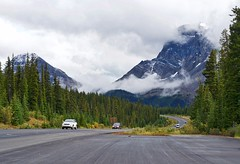 Along the Icefields Parkway (kylewagaman) Tags: canada icefieldsparkway banff jaspernationalpark cars driving scenic clouds alberta wilderness trees jeep