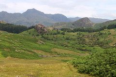Langdale Pikes (Cumberland Patriot) Tags: western fells langdale pikes hardknott wrynose pass head gill beck stream water valley vale cumbria cumbrian mountains view walk fell mountain hill peak scree rock rocks rocky english lake district national park green verdant landscape narrow steep twisty road vista land