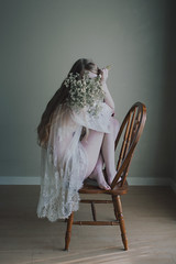 (Abby Kroke) Tags: girl woman lady female hair lace dress chair minimal tones filmlike indoors portrait self emotional emotion emotive bodylanguage nude pale