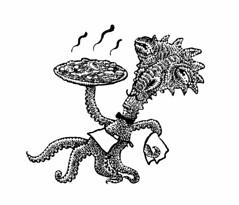 Martian Pizza (Don Moyer) Tags: ink drawing martian pizze sketchbook moyer donmoyer waiter brushpen