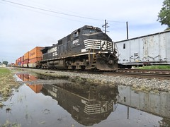Norfolk Southern Chicago Line / MP 462.5 East (codeeightythree) Tags: ns norfolksouthernchicagoline norfolksouthernrailroad norfolksouthern laporteindiana laporet indiana railroads trains railroad train freight transportation stacktrain mow maintenanceofway reflection reflections reflected mp462