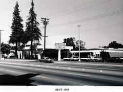 Menlo Park 1968: El Camino Real, East Side (menloparkplanning) Tags: mp1968downtownecr menlopark elcaminoreal sanmateocounty california historicalphoto historical scannedphoto downtown 1968 shepardcadillac
