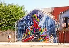 Vivian Maier (kirstiecat) Tags: multipleexposure vivianmaier chicago wickerpark mural art streetart graffiti colour color street shadow people strangers photography surreal dream kobra