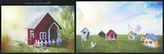 avenue des hirondelles (rockinmonique) Tags: 52in52 architecture birdhouse composite diptych whimsical fun small red blue green moniquew canon canont6s tamron copyright2017moniquew