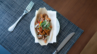 Masala spiced fries with chicken jalfrezi - with garlic aioli and tamarind ketchup