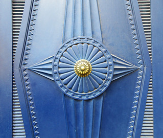 Blue and gold door details - Lille, France - Explored!