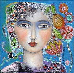 """SUMMER FLOWERS""......sold (kitty jujube) Tags: art mixedmedia painting folk ethereal flowers face whimsical woman small sandifitzgeraldcom summer"