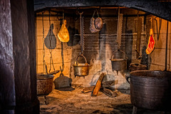 Kitchen hearth at Marksburg castle (mary_hulett) Tags: rivercruise interior travel indoor braubach germany viking kitchen tour europe marksburgcastle hearth