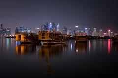 Doha! (aliffc3) Tags: doha nikond750 zeiss50mpf2 dhows boats skyline tourism tourists travel qatar nightshot longexposure