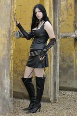 Anna-Lena 01 (The Booted Cat) Tags: sexy black hair cute girl mistress miniskirt whip leather corset buffalo boots overkneeboots heels highheels