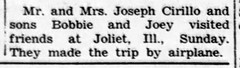 1954 - Cirillos fly to Joliet - Enquirer - 10 Jun 1954