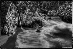 "Flowing Falls Into Froth Like Lace (James A. Crawford - ♪♫♪""Crawf""♪♫♪) Tags: art bw blackandwhite blackwhite black beach blackwhitephotos blackandwhiteonly canoneos california creativephotography creativepostprocessing creative creativedigitalphotography canon colorefexpro4 calif cclr2015 ccps2015 centralcaliforniacoast rocks cliffs mcwayfalls digitalphotography edges eos ebbtide fineart imageborders innamoramento landscape longexposure longexposures monochrome nature niksoftware natureplus ngc ocean photoshop silverefexpro2 seascape tonalcontrast usa viveza2 wallpaper white water waves waterfalls"