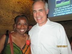 Moms Clean Air Force SuperVolunteer, Frances with Senator Casey in Philadelphia