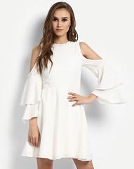 White Cora Cold Shoulder Sskater Dress for Girls (neha.thakur35) Tags: dressesforgirls ladiesdresses dressesforwomen