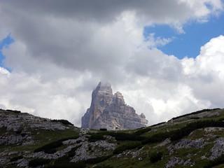 Last view of Tre Cime di Lavaredo from Monte Piana