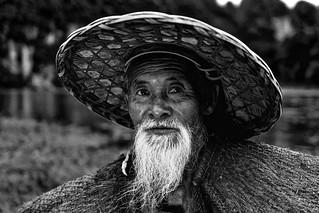 Chine - Vieux pêcheur aux cormorans à Xingping.