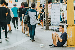 Homeless in Ximending (Randy Wei) Tags: mitakon speedmaster fujifilim taipei taiwan ximending ximen 西門町 西門 台灣 台北 中一光學 zhongyi streetshot outdoors people streets naturallight space