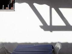 summer light (maximorgana) Tags: table cloth tablecloth plastic chair lamanga elzoco elchipiron restaurant shadow white wall window bar theartoflight
