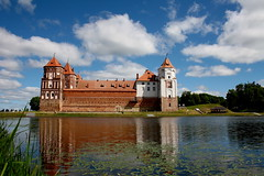 Mir Castle. Belarus. (halina.reshetova) Tags: castle mircastle belarus grodnoregion culturalheritage history historyofbelarus theunescoheritage touristattraction excursion building roof roofs window windows walls brick tower towers architecture architecturalstyle nature lake water sedge shadow white brown blue green ginger gray sky clouds trees grass reflection summer summertime june canon canoneos1000d 03062012 14072017